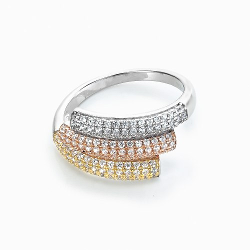 3 Row – Silver, Rose And Yellow Stone-Set Design. RE34484