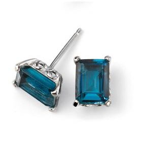 d4b335dfc ELEMENTS GOLD 9CT WHITE GOLD LONDON BLUE TOPAZ STUD EARRING WITH GALLERY  DETAIL